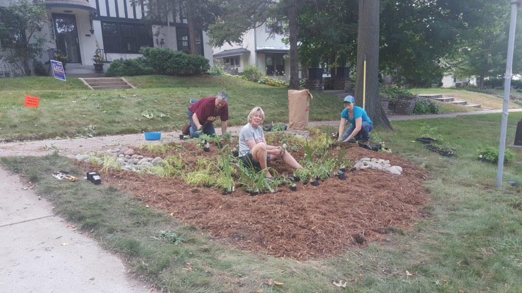 Rain garden being planted in Tangletown