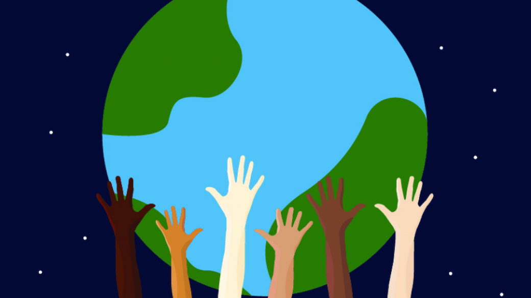 World being held up by many hands