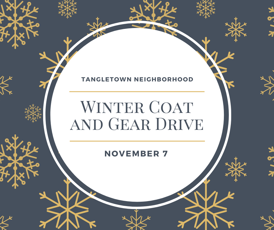 Winter Coats and Gear Drive November 7 with snow flakes
